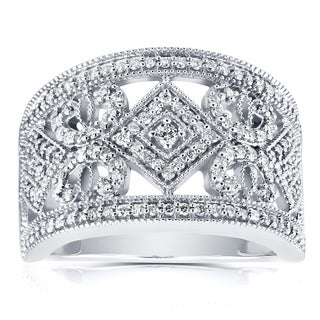 Annello By Kobelli 10k White Gold 1 2ct TDW Diamond Filigree Edwardian Milgrain Wide Anniversary Band