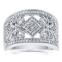 Annello by Kobelli 10k White Gold 1/2ct TDW Diamond Filigree Edwardian Milgrain Wide Anniversary Band
