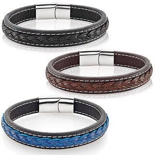 Crucible Men's High Polish Stainless Steel Double Layer Genuine Leather Bracelet - 8.5 inches (12mm Wide)
