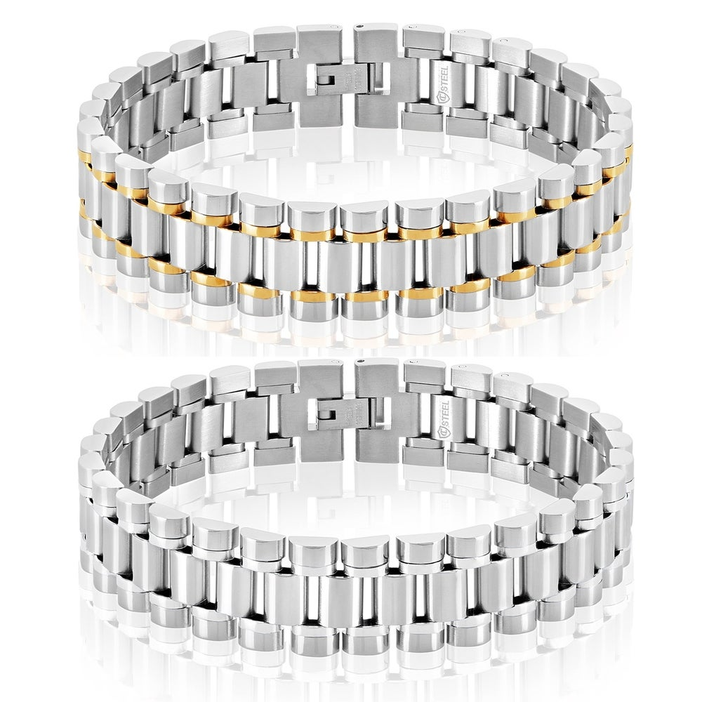 Arrow Jewelry Stainless Steel Cable Inlay Screw Head Link Bracelet 8.5 Polished Finish