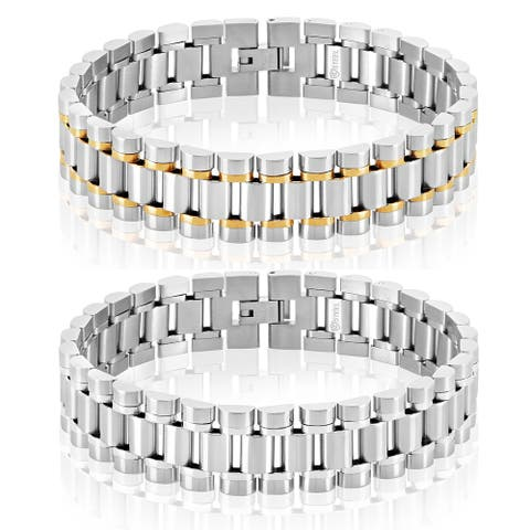 Crucible Polished Stainless Steel Link Bracelet (16mm Wide)