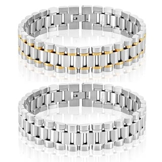 Crucible Men's Polished Stainless Steel President Bracelet - 8.5 inches (16mm Wide)