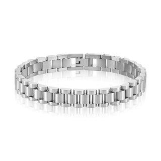 Crucible Men's Dual Finish Stainless Steel President Bracelet - 8.25 inches (10mm Wide)