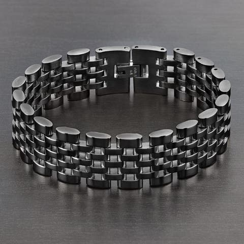 Crucible Polished Stainless Steel Brick Link Bracelet (18mm Wide)
