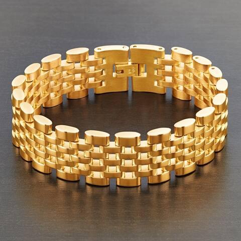 Crucible Polished Stainless Steel Brick Link Bracelet (18mm Wide)