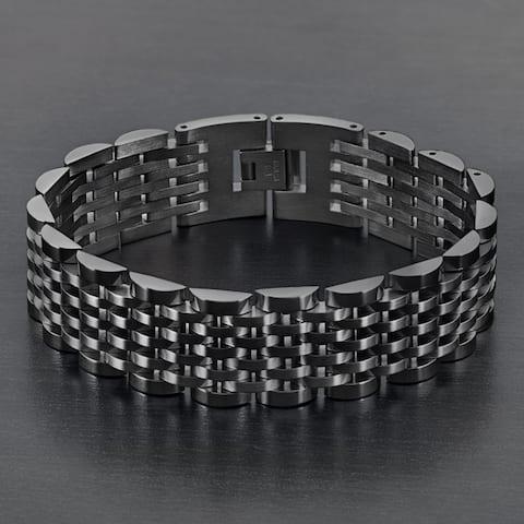 Crucible Dual Finish Stainless Steel Half Moon Link Bracelet (19mm)