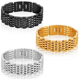 Crucible Men's Dual Finish Stainless Steel President Bracelet - 8.25 inches (19mm Wide)