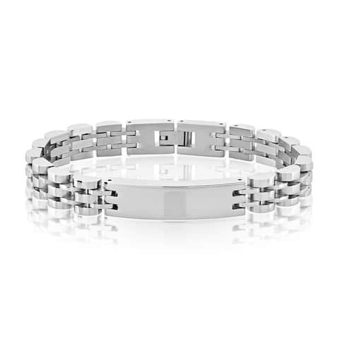 Crucible Men's High Polish Stainless Steel Half Moon Link ID Bracelet - 8.5 inches (10mm Wide)