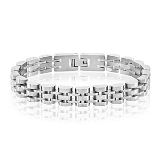 Crucible Men's High Polish Stainless Steel Half Moon Link Bracelet - 8.5 inches (10mm Wide) - Silver
