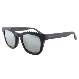 Givenchy GV 7006 807 T4 Studded Black Plastic Square Sunglasses Silver Mirror Lens
