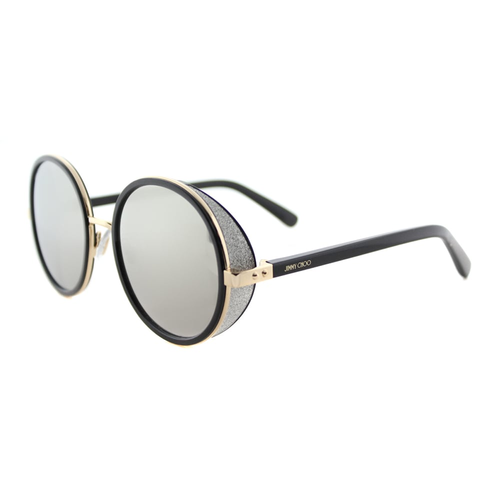 de76f380bc Details about Jimmy Choo JC Andie J7Q Gold And Black Metal Silver Mirror  Lens Round Sunglasses