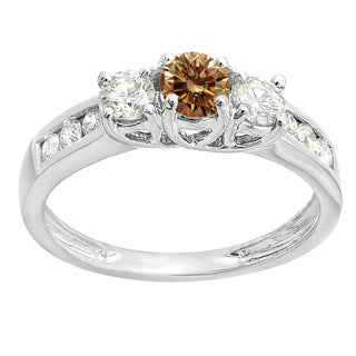 Elora 10k Gold 7/8ct TDW Round Cut Champagne & White Diamond 3 Stone Engagement Ring (I-J & Champagne, I2-