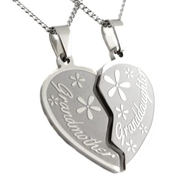 Grandmother granddaughter stainless steel 2 piece heart pendant grandmother granddaughter stainless steel 2 piece heart pendant mozeypictures Image collections