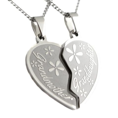 Grandmother Granddaughter Stainless Steel 2-piece Heart Pendant