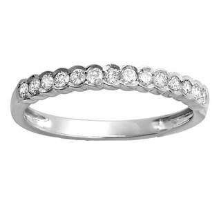 Elora 14K White Gold 1/3 TDW Round Diamond Anniversary Ring Wedding Matching Guard Band (H-I, I1-I2)