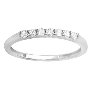 Elora 14K White Gold 1/4 TDW Round 7 Stone Diamond Anniversary Ring Wedding Matching Band (H-I, I1-I2)