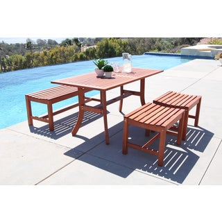 Malibu Eco-friendly 4-piece Outdoor Hardwood Rectangle Dining Table Set with 4-foot Backless Bench and Chairs