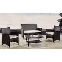 Modern Outdoor Garden Patio 4-piece Wicker Sofa Furniture Set