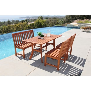 Malibu Eco-friendly 4-piece Outdoor Hardwood Rectangle Dining Table Set with 4-foot Bench and Armless Chairs
