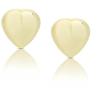 Dolce Giavonna 14k Gold Heart Stud Earrings