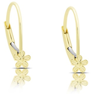 Molly and Emma 14K Gold Flower Leverback Earrings