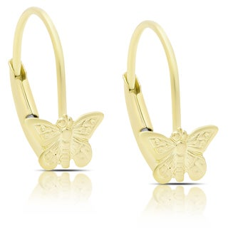 Molly and Emma 14K Gold Butterfly Leverback Earrings