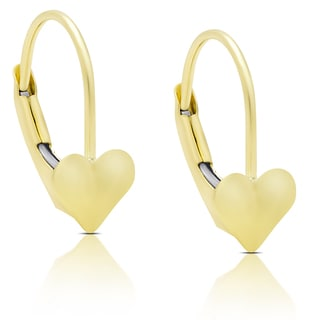Molly and Emma 14K Gold Heart Leveback Earrings