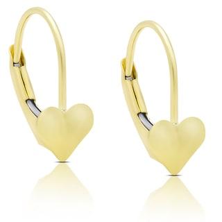 Molly and Emma 14K Gold Heart Leveback Earrings
