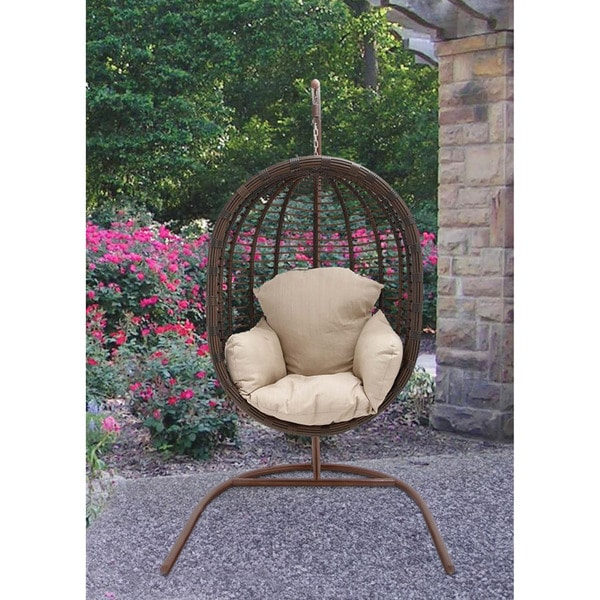 Hanover Outdoor EGG SWING03 Hanging Wicker Pod Swing With Full Cream Cushion