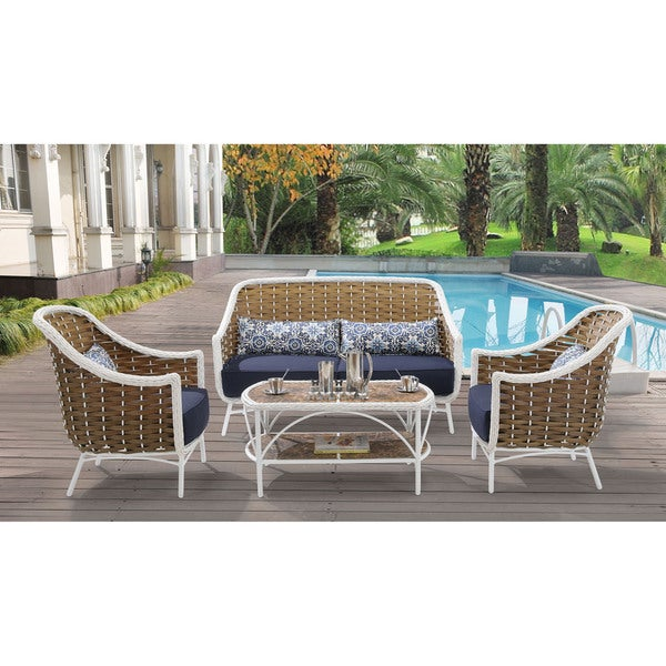 shop hanover ath 4pc nvy athens navy blue aluminum 4 piece outdoor rh overstock com Round Patio Furniture Sets Patio Table Silver