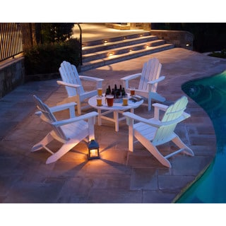 Hanover Adirondack Chat Group White Wood Outdoor 5-Piece Seating Set