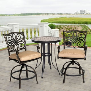 Hanover Monaco Tan Aluminum 3-piece Outdoor High Dining Bistro Set