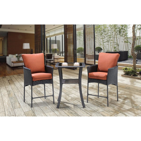 outdoor strathmere allure brown steel 3 piece high dining bistro set