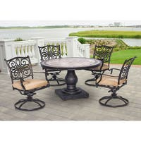 Hanover MONDN5PCSW-4 Monaco Tan Aluminum 5-piece Outdoor Dining Set With 4 Swivel Rockers