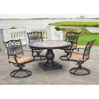 Hanover MONDN5PCSW 4 Monaco Tan Aluminum 5 Piece Outdoor Dining Set With 4  Swivel