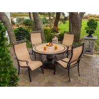Hanover MONACO5PC Monaco Tan Natural Stone Five-piece Outdoor Dining Set
