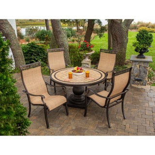 Hanover MONACO5PC Monaco Tan Natural Stone Five-piece Outdoor Dining Set
