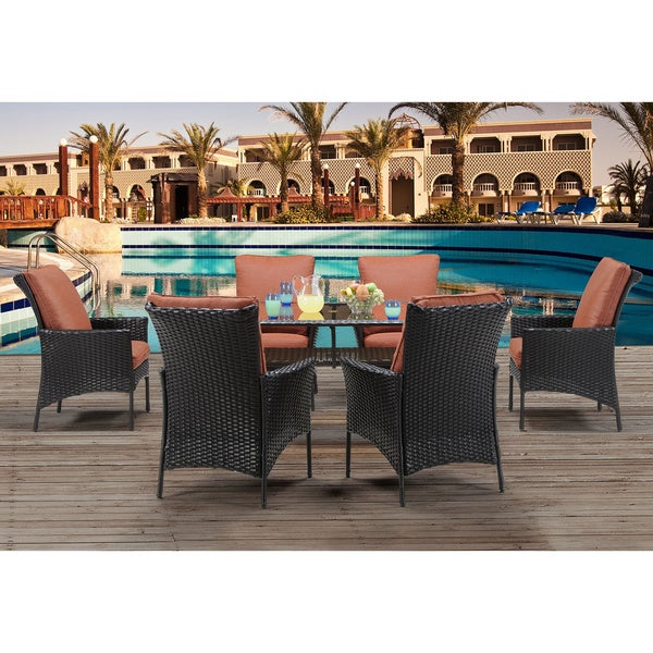 Hanover Strathmere Allure Brown Steel Seven-piece Outdoor Dining Set