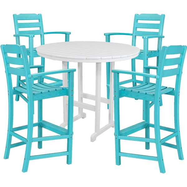 Hanover NASSAU5PCBR-AR Nassau Aruba/White Plastic 5-piece Outdoor High Dining Set