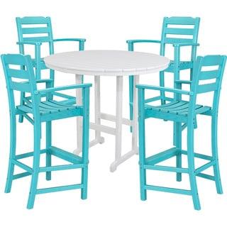 Hanover NASSAU5PCBR-AR Nassau Aruba/White Plastic 5-piece Outdoor High Dining Set
