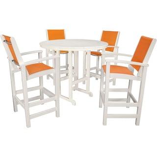 Hanover NASSAU5PC-CT Nassau Citrus Orange/White Plastic 5-piece Outdoor Counter-height Dining Set