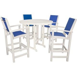 Hanover Nassau White Plastic Outdoor 5-piece Bar Dining Set