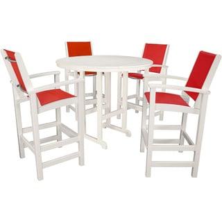 Hanover Outdoor Nassau Salsa Red Plastic 5-piece High Dining Set