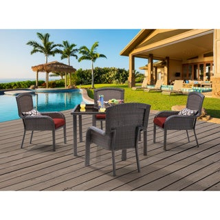 Hanover Outdoor STRADN5PCSQ-RED Strathmere Five-piece Dining Set With 48-inch Square Table