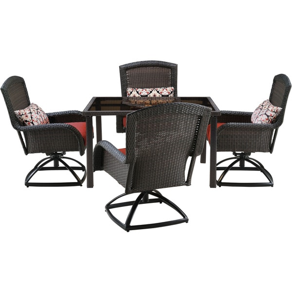 Hanover Strathmere Red Resin 5 Piece Outdoor Swivel Dining Set With 48 Inch Square Table Free