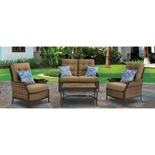Hanover HUDSONSQ4PC Hudson Square Tan Steel 4-piece Outdoor Deep-seating Lounge Set