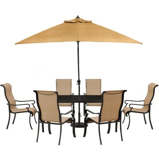 Hanover BRIGDN7PC-GLS-SU Brigantine Tan Aluminum 7-piece Outdoor Dining Set with Glass Top Table and 9-foot Umbrella