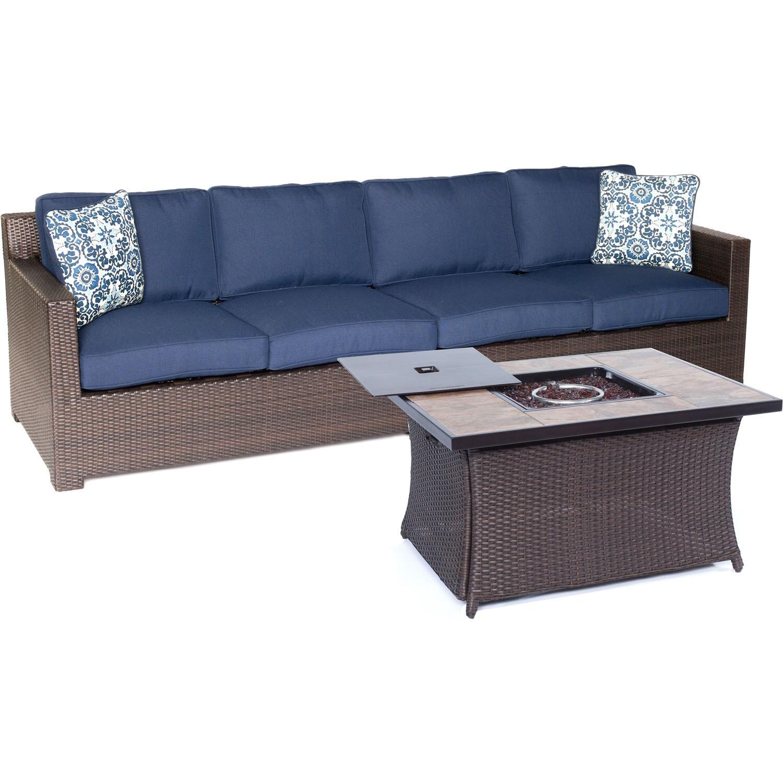 Hanover Outdoor Metropolitan Three-piece Sofa Set with Woven Fire Pit in Navy Blue (Sahara Sand)
