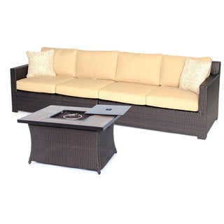 Hanover Outdoor METRO3PCFP-TAN-A Metropolitan 3-piece Loveseat Set with Woven Fire Pit in Sahara Sand