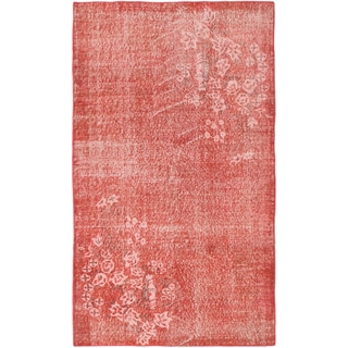 eCarpetGallery Red/Ivory Cotton, Wool Hand-knotted Color Transition Rug (3'9 x 6'7)